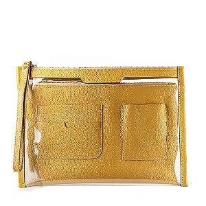 Organizador de bolsa personalizavel em couro mostarda