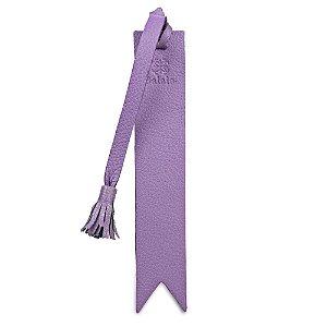 Marcador de livro personalizável em couro lilas