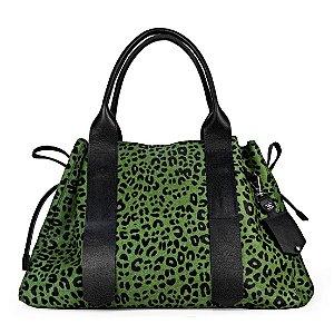 Bolsa Bianca em couro animal print verde