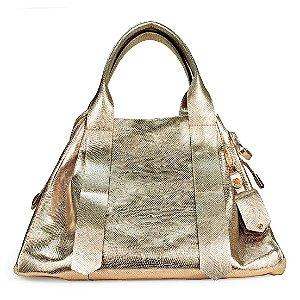 Bolsa Bianca em couro escama dourado