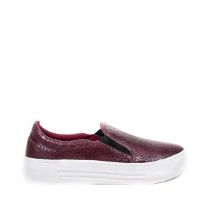 Sneaker Balaia MOD144 em couro Snake Bordo