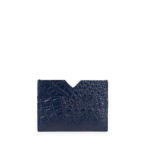 Mini Carteira V Balaia em Couro Croco Azul