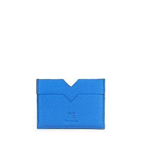 Mini Carteira V Balaia em Couro Azul Cobalto