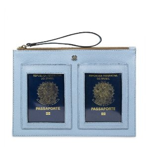 Porta Passaporte Duplo Balaia em couro Lezard Azul