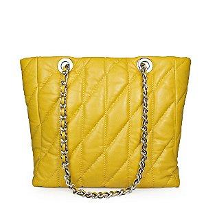 Bolsa Balaia Lorena em couro Amarelo