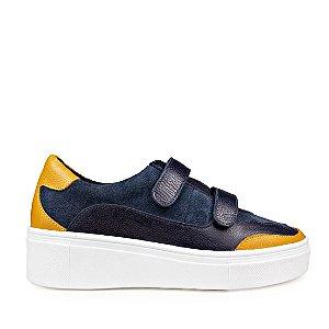 Sneaker Balaia MOD444 em couro Marinho com Amarelo