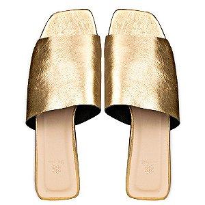 Rasteira Balaia MOD456 em couro Cristal Ouro