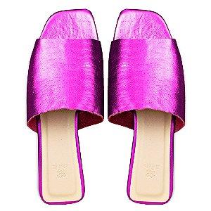 Rasteira Balaia MOD456 em couro Metal Pink