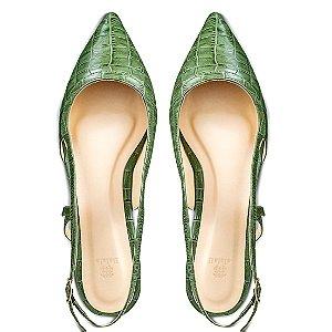 Sapatilha Balaia MOD467 em couro Croco Verde
