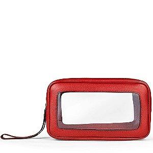 Necessaire M Box Balaia em couro Vermelho