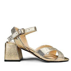 Sandalia Balaia MOD475 em couro Metal Ouro