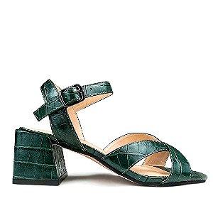 Sandalia Balaia MOD475 em couro Croco Verde