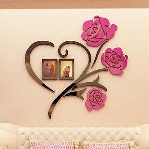Adesivo de Parede 3D - Coração e Rosas - Com Porta Retratos