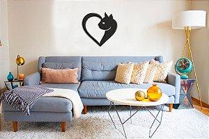Adesivo de Parede 3D - Alto Relevo - Gato Coração