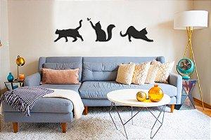 Adesivo de Parede 3D - Alto Relevo - Gatos