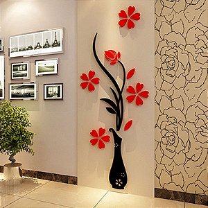 Adesivo de Parede 3D - Alto Relevo - Vaso de Flores