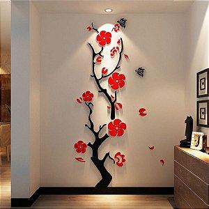 Adesivo de Parede 3D - Alto Relevo - Árvore e Flores