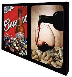 Quadro Duplo Porta Rolhas de Vinho e Tampinhas de Cerveja Tamanho 55cm X 42cm