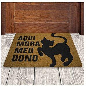 Tapete Capacho em Vinil - Aqui Mora Meu Dono - Gato