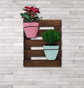 Pallet - Treliça para Plantas - Horta Vertical - Com Dois Vasos Autoirrigáveis