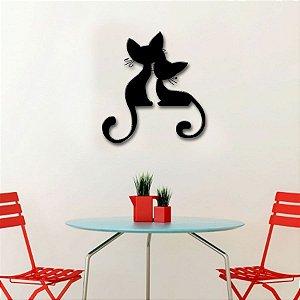 Adesivo de Parede 3D - Alto Relevo - Casal de Gatos