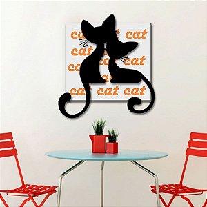 Quadro com Imagem Sobreposta - Cat - Tamanho 50cm X 50cm