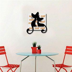 Quadro com Imagem Sobreposta - Cat - Tamanho 30cm X 30cm