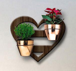 Treliça para Plantas Modelo Coração - Jardim Vertical - com 02 Vasos Cachepô Gold