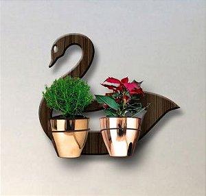 Treliça para Plantas Modelo Cisne - Jardim Vertical - com 02 Vasos Cachepô Gold