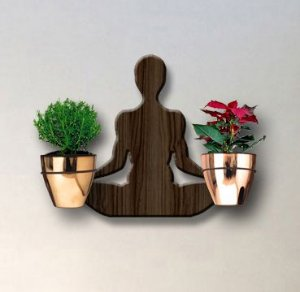 Treliça para Plantas Modelo Yoga - Jardim Vertical - com 02 Vasos Cachepô Gold