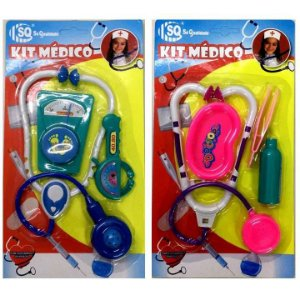 Brincando de Medico - Kit Medico de Brinquedo - com Estetoscopio e acessorios - SQ3854