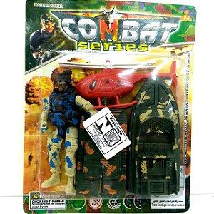 Boneco Soldado com Lancha Tanque e Helicoptero - COMBAT SERIES - BA01745