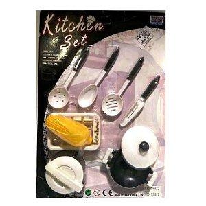 Panelinhas - Kit de cozinha MASTER CHEFF Kitchen Set com milho - 10 acessorios - BA18589