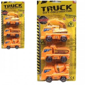 Kit Caminhão Construcao Truck City Construction Ref.4442 - com 3 carrinhos