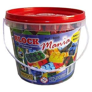 Blocos de Montar Block Mania com 104 Peças Alfem Plastic 6000 no Balde