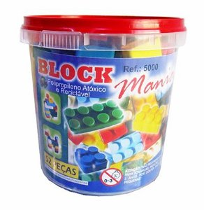 Blocos de Montar Block Mania com 52 Peças Alfem Plastic 5000 no Balde