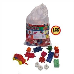 Blocos de Montar Pense Monte Brinque com 120 Peças na sacola Dominio Brinquedos