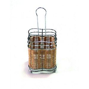 Porta Talheres em Rattan com Aluminio - quadrado - DayHome
