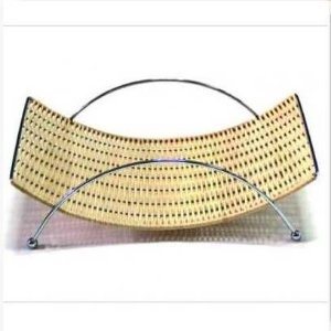 Porta Revista ou Fruteira ou Centro de Mesa em Rattan com Aluminio -JB1015 -  DayHome