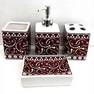 Jogo de Banheiro em ceramica - Indiano Marrom - com 4pc - Ref.307 - Susan