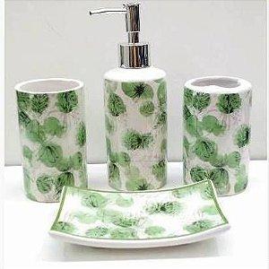 Jogo de Banheiro em ceramica - Folhagem - com 4pc - Ref.306- Susan