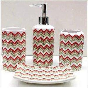 Jogo de Banheiro em ceramica - Zig Zag Duo - com 4pc - Ref.319 - Susan