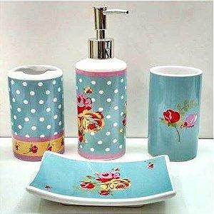 Jogo de Banheiro em ceramica - Flor com Bolinhas - com 4pc - Ref.310 - Susan