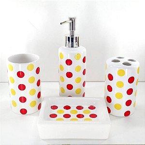 Jogo de Banheiro em ceramica - Bolinha - com 4pc - Ref.303- Susan