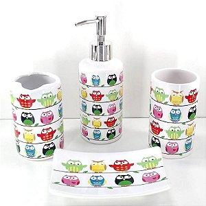 Jogo de Banheiro em ceramica - Coruja - com 4pc - Ref.320- Susan