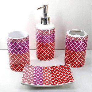 Jogo de Banheiro em ceramica - Tom sur Tom - com 4pc - Ref.319- Susan