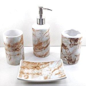 Jogo de Banheiro em ceramica - Mamorizado - com 4pc - Ref.312- Susan