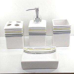 Jogo de Banheiro em ceramica - Listrado Geometrico - com 4pc - Ref.306- Susan