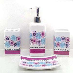 Jogo de Banheiro em ceramica - Flores Rosa Azul -  com 4pc - Ref.313 - Susan