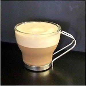 Xicara de Capuchino / cafe com leite - SEM PIRES - Vidro e Inox - SS7317